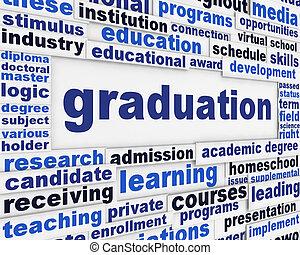 studienabschluss, plakat, begriff