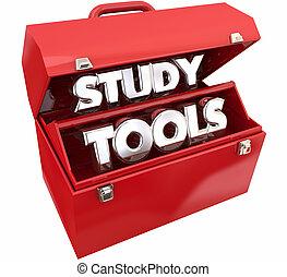 studieren, abbildung, lernen, werkzeugkasten, bildung, werkzeuge, ressourcen, 3d
