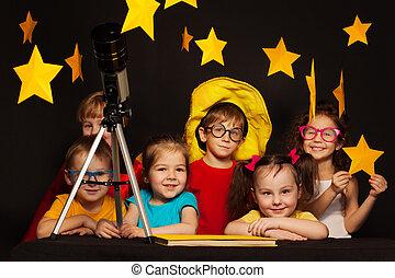 studieren, astronomie, kinder, teleskop