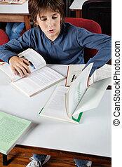 studieren, buchausleihe, schuljunge