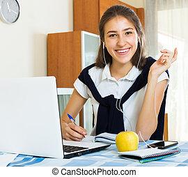 studieren, hochschule, lächeln, schueler, weibliche