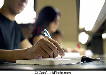studieren, junger, buchausleihe, hochschule, hausaufgabe,...