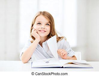 studieren, kleines mädchen, schule- kursteilnehmer