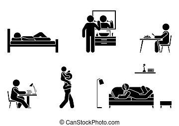 studieren, stock, sitzen, hören, bürste, alltäglich, essen, sofa, ikone, leben, piktogramm, kind, vektor, musik, set., legen, spielen, buero, laptop, tätigkeiten, gebrauch, mann, z�hne, figur, schlaf, arbeit, zeit