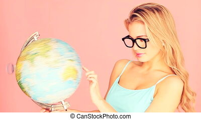 studieux, femme, globe