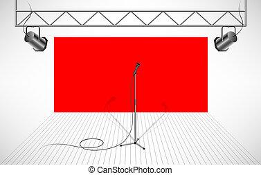 studio, à, isolé, microphone