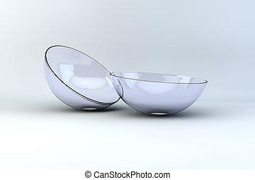 contact lenses macro 3d view