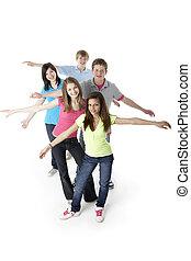 studio, adolescent, amis, groupe