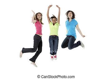 studio, adolescent, sauter, groupe, petites amies