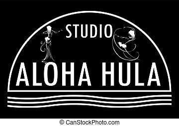 Studio aloha hula icon. - Hawaii vector logo design...