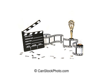 Studio Background of Film Related Items on White