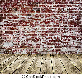Studio background with brick wall and  timber floor