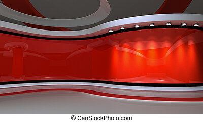 studio., baggrund., gengivelse, nyhed, rød, 3