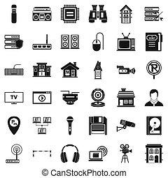 Studio camera icons set, simple style