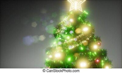 studio, coloré, lumières, arbre, joyeux, coup, noël