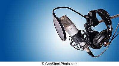 Studio condenser microphone and equipment blue isolated -...