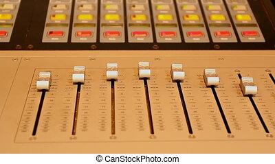 Studio control panel sliders lights - Stage audio control...