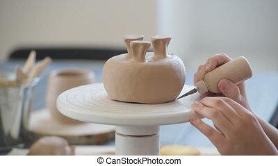 studio., décorer, argile, enfants, enfant, poterie, processus, vase.