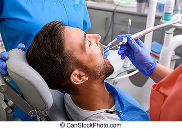 studio, dentaler patient, behandlung, bekommen