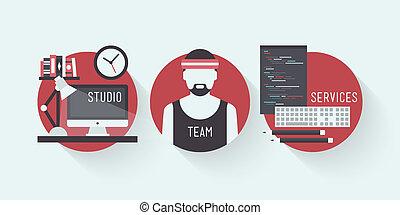 Studio design services flat icons