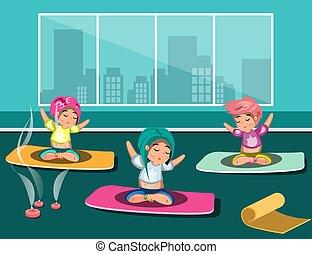 studio, donne, yoga, gruppo, felice