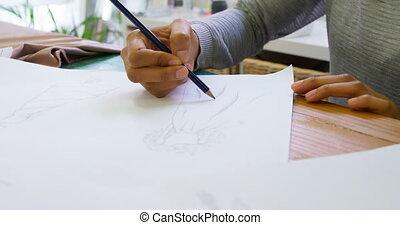 studio, entwerfer, mode, 4k, zeichnung, skizze