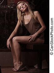 studio fénykép, közül, egy, gyönyörű, szőke, nő