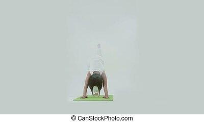 studio, femme, natte yoga