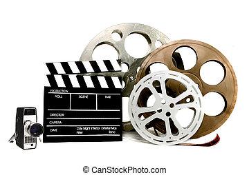 studio, film, powinowaty, pozycje, na białym