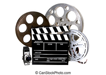 Film Reels and Directors Clapper With Vintage Camera - ...