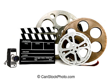 Studio Film Items Canisters Vintage Video Camera and Director Clapper