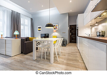 Studio flat with open kitchen