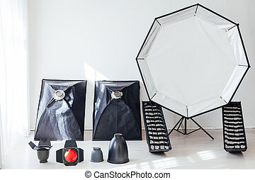 studio, fond, photographe, blanc, équipement photo, flash