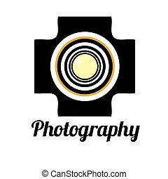 studio foto, o, professionale, fotografo, logotipo, sagoma