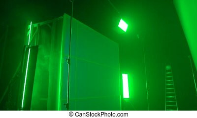 Studio green lighting equipment color effect LED stands grip cinema commercial video production camera movement