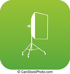 Studio light bulb in softbox icon green vector