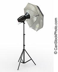 Studio lighting equipment. Flash and umbrella. 3d