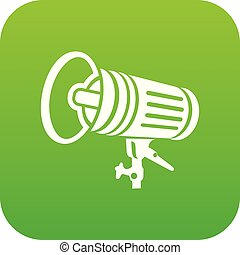 Studio lighting equipment icon green vector isolated on ...
