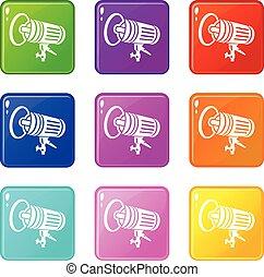 Studio lighting equipment icons set 9 color collection
