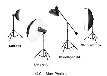 Studio lighting equipment isolated on white background. ...