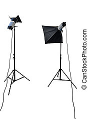 studio lighting equipment isolated on white with clipping ...