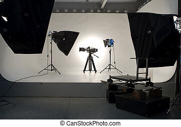 Studio Lighting. - Studio light on location for movie scene.