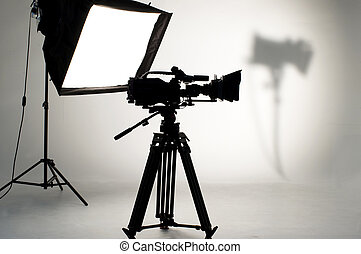 Studio Lighting. - Searchlight and silhouette of the...