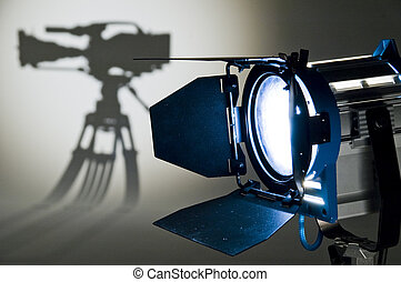 Studio Lighting. - Searchlight and silhouette of the chamber...
