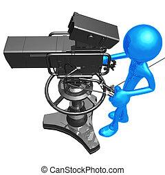 studio, macchina fotografica televisione