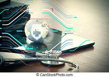 studio, makro, von, a, stethoskop, und, beschaffenheit, erdball, mit, digital tablette, mit, seicht, dof, evenly, angepaßt, abstrakt, als, medizin, vernetzung, begriff