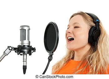 studio, microphone, écouteurs, chant, girl