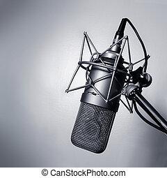 Studio microphone - Black and white image of a studio ...