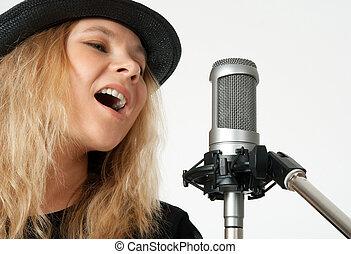 studio, microphone, femme, chant, jeune