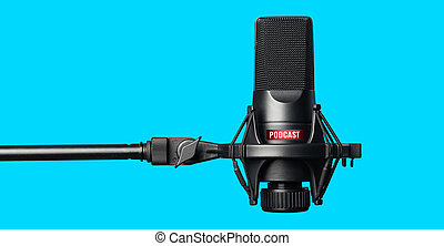 Studio microphone for recording podcasts over blue...